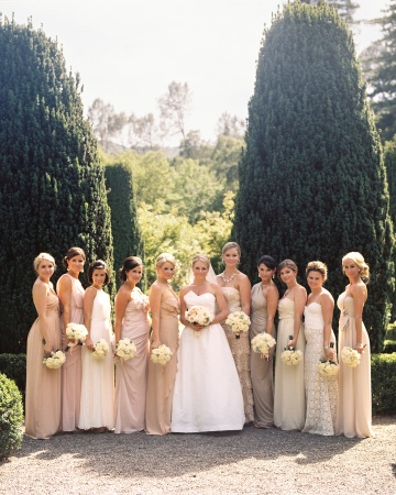 blush champagne ivory bridesmaids