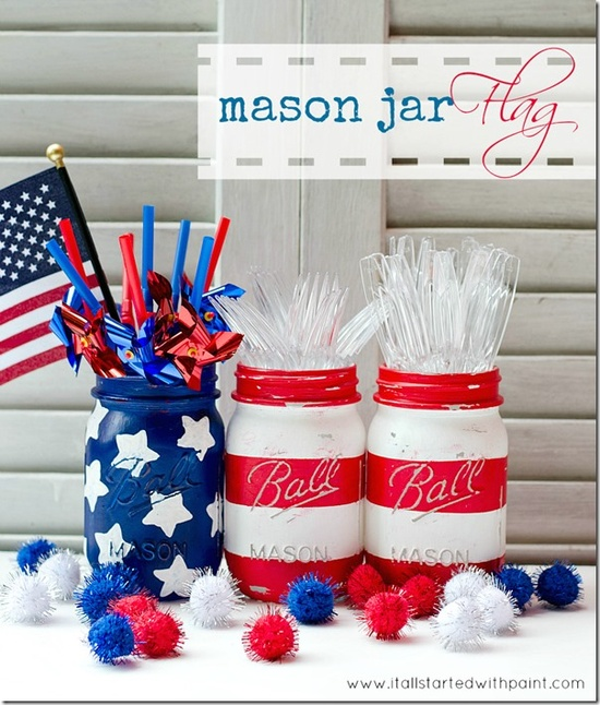 Fourth of July Decor Mason Jars