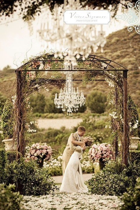 outdoor chandelier wedding