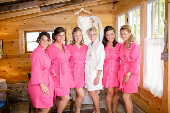 monogram bridesmaids gifts robes necklaces flasks