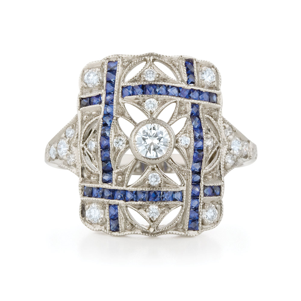 Rectangle Sapphire And Diamond Ring From The Kwiat Vintage Collection In  18k White Gold Blending Modern Design With Vintage Influences, A Sapphire  Path