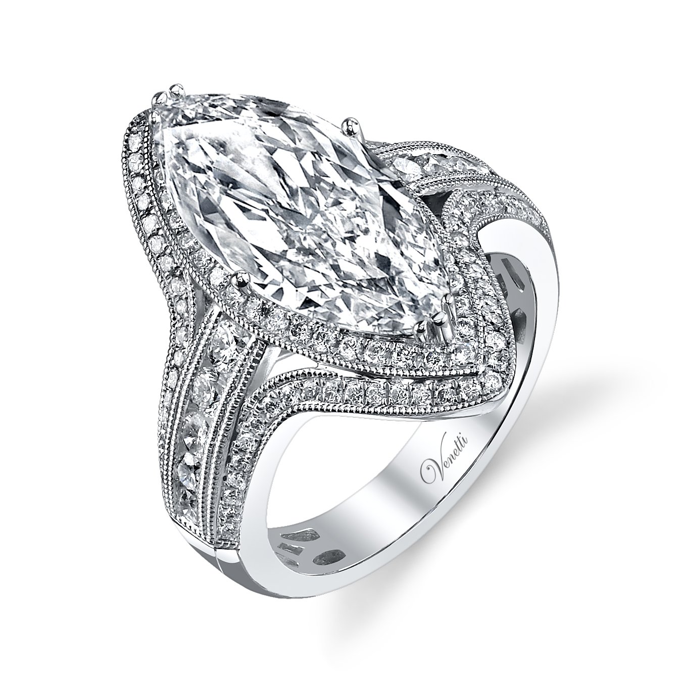Marquise Diamond Engagement Ring 14k W Ring 114rd 09ct