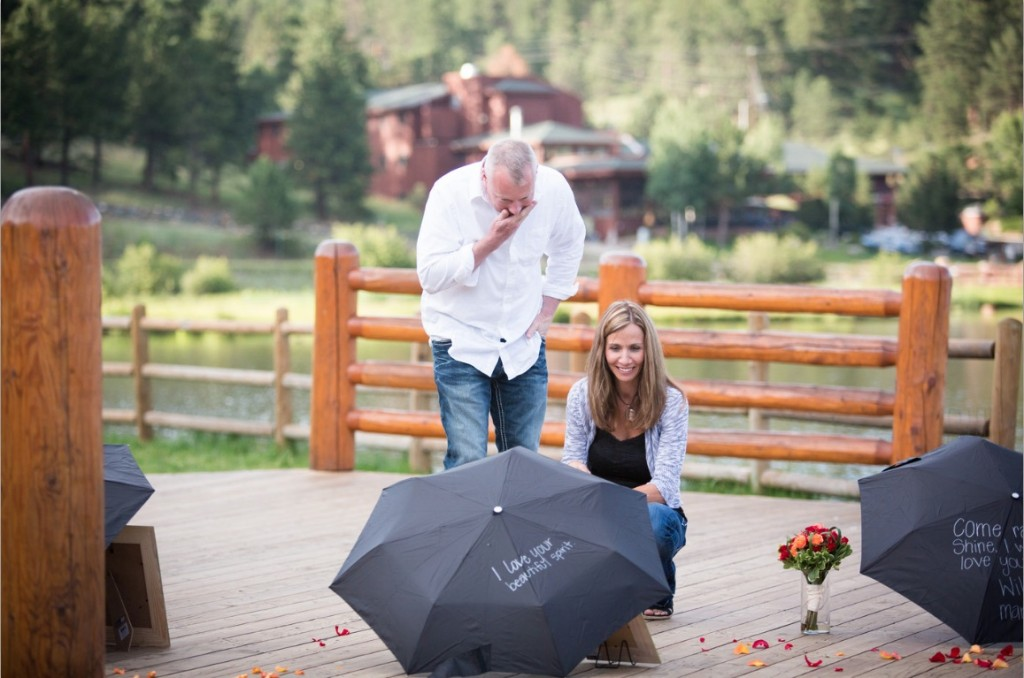 Evergreen Colorado Rain Theme Marriage Proposal by The Yes Girls Events55