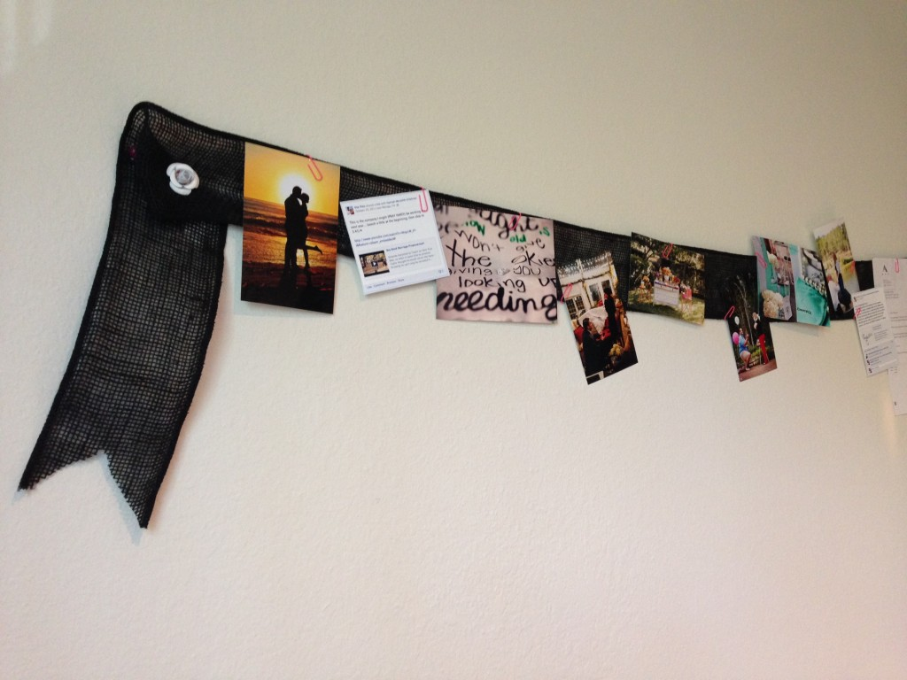 black burlap ribbon used to hang pictures and quotes on the wall