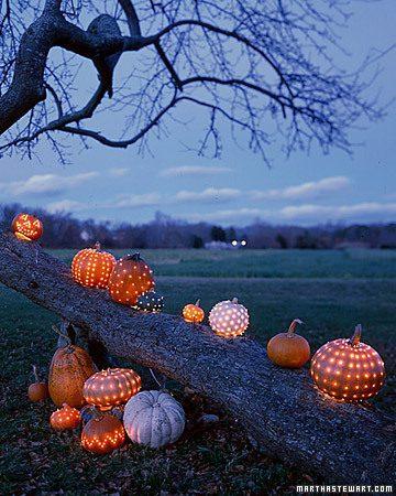 twinkle light pumpkins