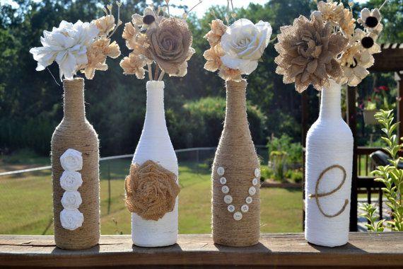 wine bottle DIY twine burlap lace