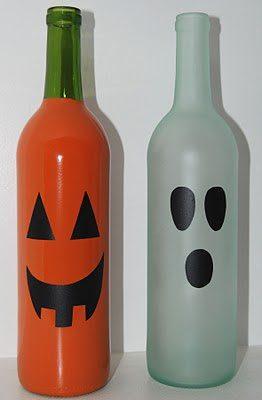 wine bottle DIY jack-o-lanterns halloween