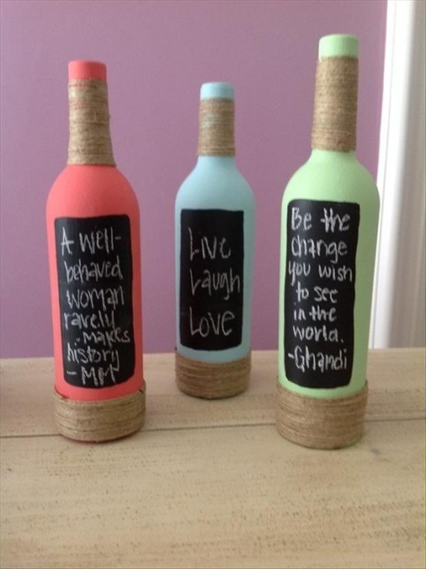 wine bottle DIY chalk board quote