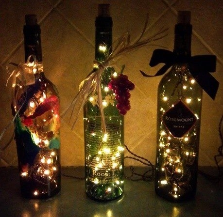wine bottle DIY christmas lights