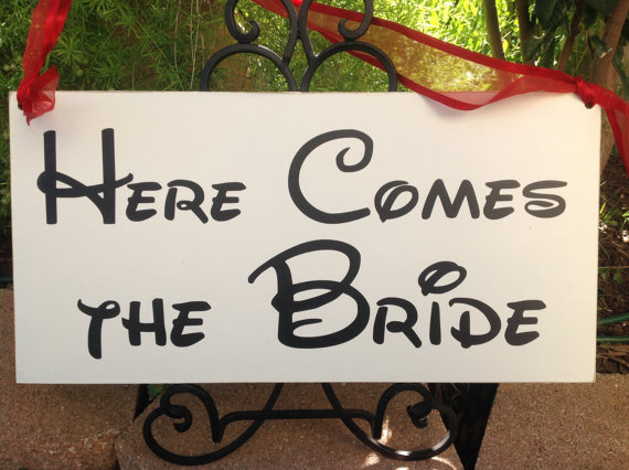 Disney Here Comes the Bride Sign
