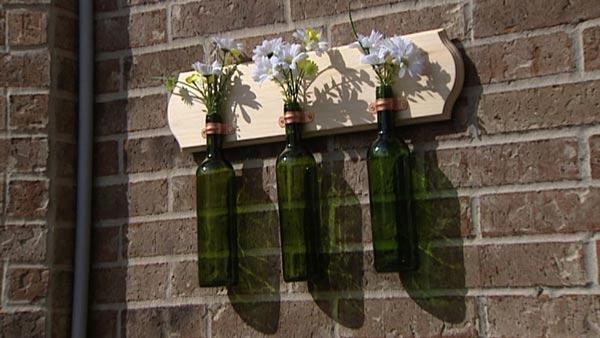wine bottle DIY flower planter