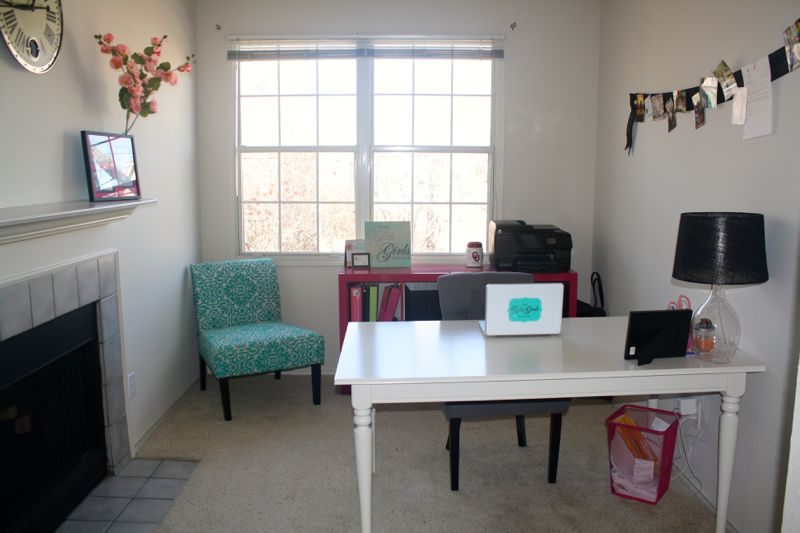 pink, teal and white office