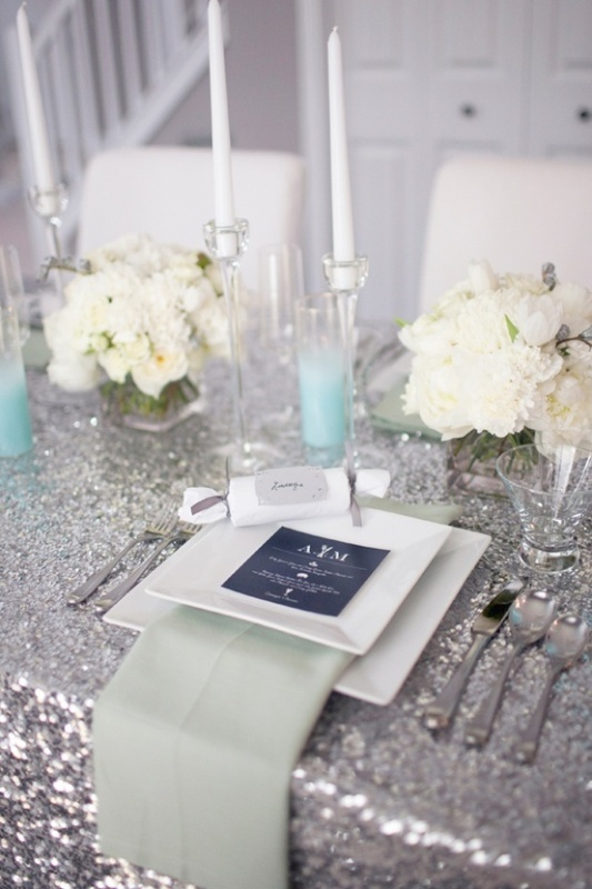 Tiffany Blue and Silver wedding table set up