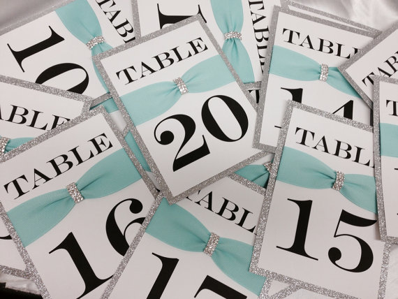 Tiffany inspired wedding table numbers