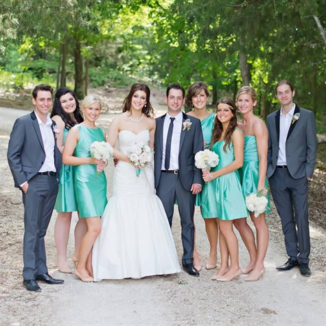 Tiffany Blue and Silver wedding bridesmaids and groomsmen