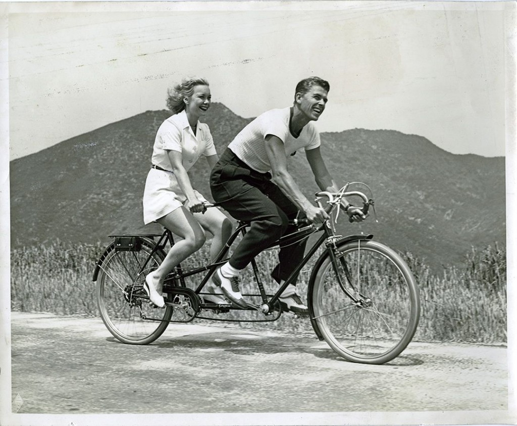 couple on tandem bike