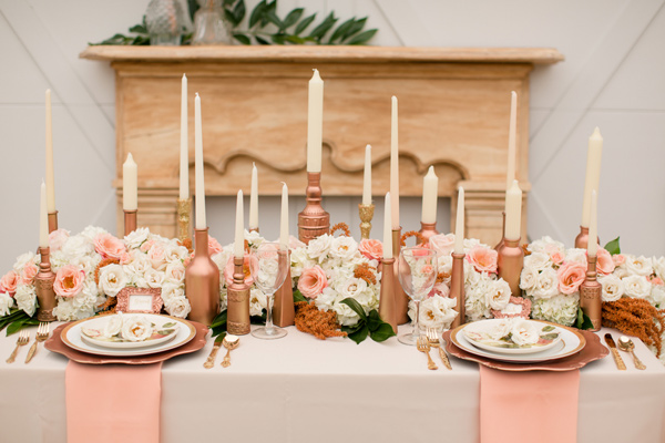 rose gold wedding center pieces