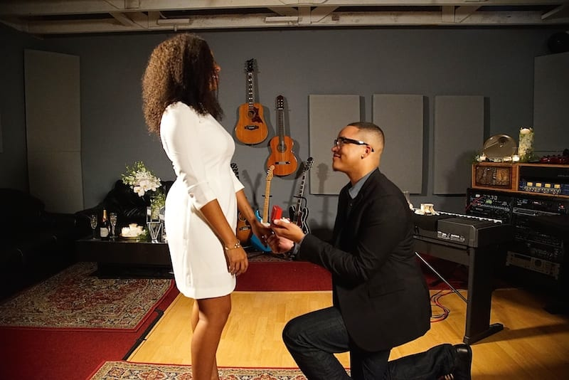 marriage proposal in Los angeles music studio by the yes girls