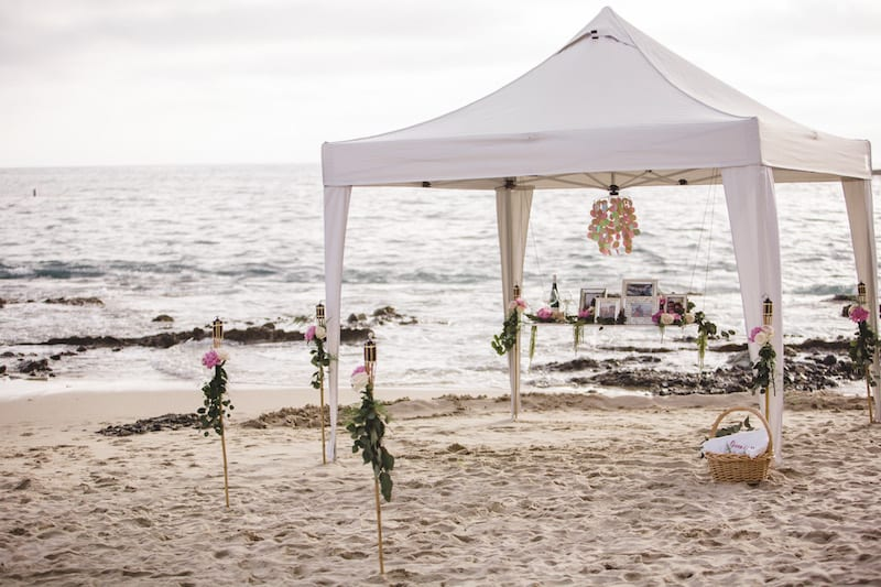 Tent on the beach romantic proposal