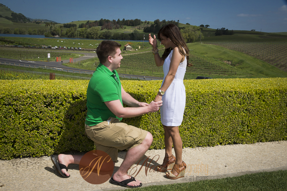 man on one knee with view scenery