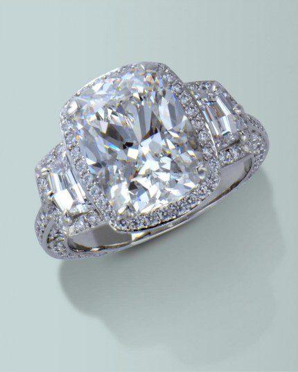 d03fcb272 Turgeon Raine Engagement Ring. Platinum ring with Cushion cut diamond, 2  Cadi cut diamonds and 148 round brilliant cut diamonds.