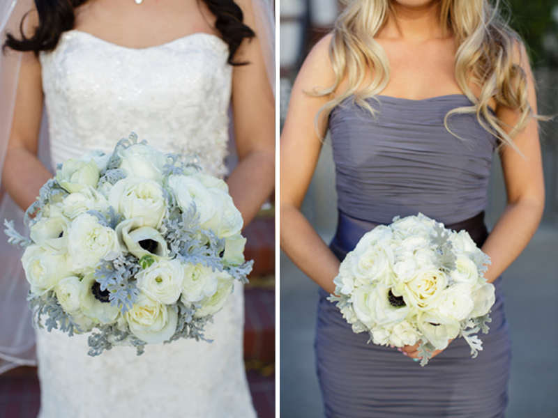White and Gray bridal bouquets