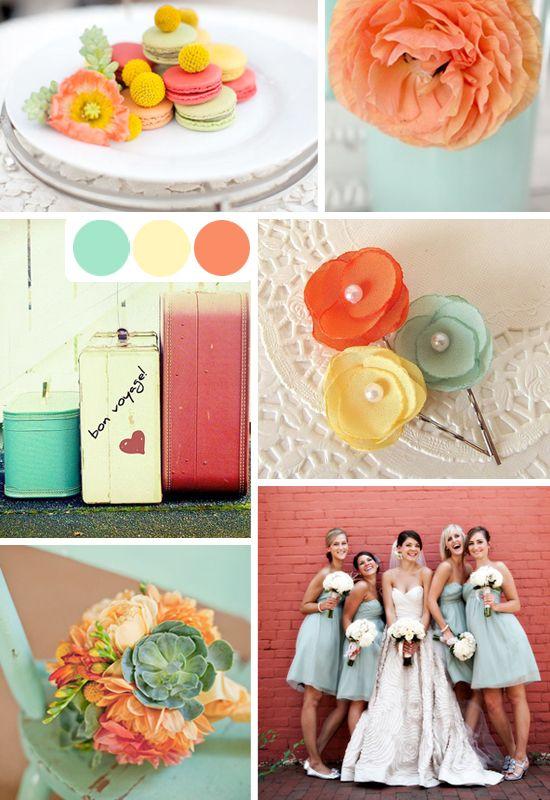 mint orange pink mustard wedding