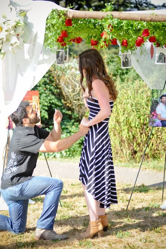 photos incorporated in marriage proposal
