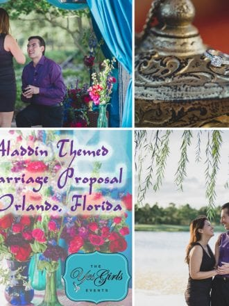 Arabian Nights Wedding Proposal in Orlando red purple blue pink flowers genie lamp tent
