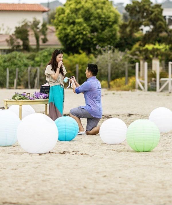 chinese lanterns, lavender, on one knee proposal