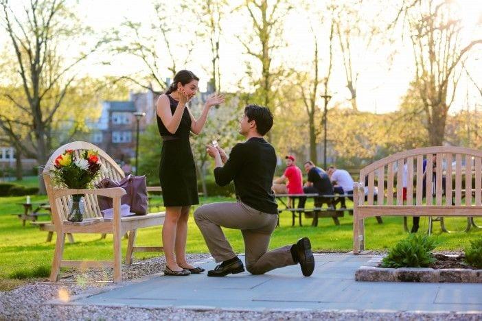 brunette couple proposal
