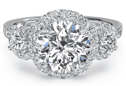 Ritani Three Stone Halo Diamond Ring