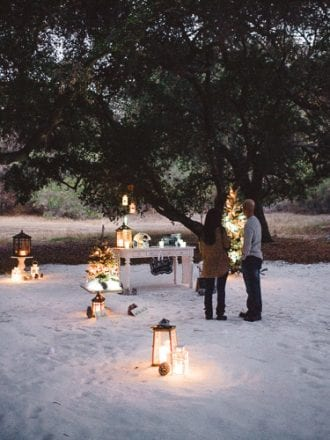 proposal planners setting up winter marriage proposal