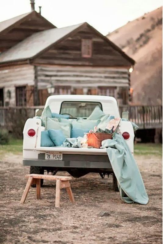 truck bed movie watching romance