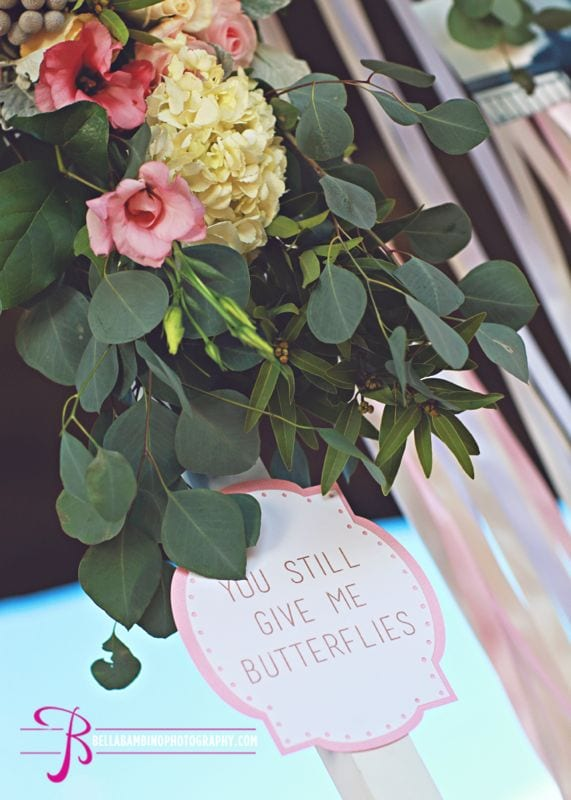 natural greenery pink flowers love note