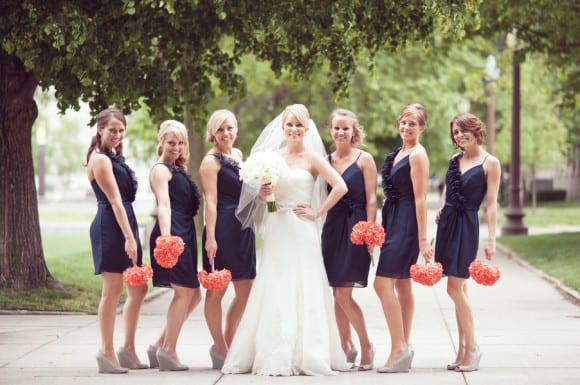 navy bridesmaid dress coral flowers florals