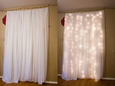 diy backdrop with sheet and lights