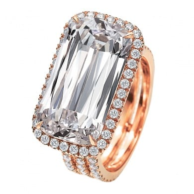 Ashoka Diamond Three Row Sideways Trellis Ring