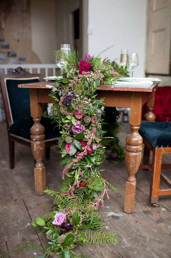 whimsical natural fresh flower table runner centerpieces