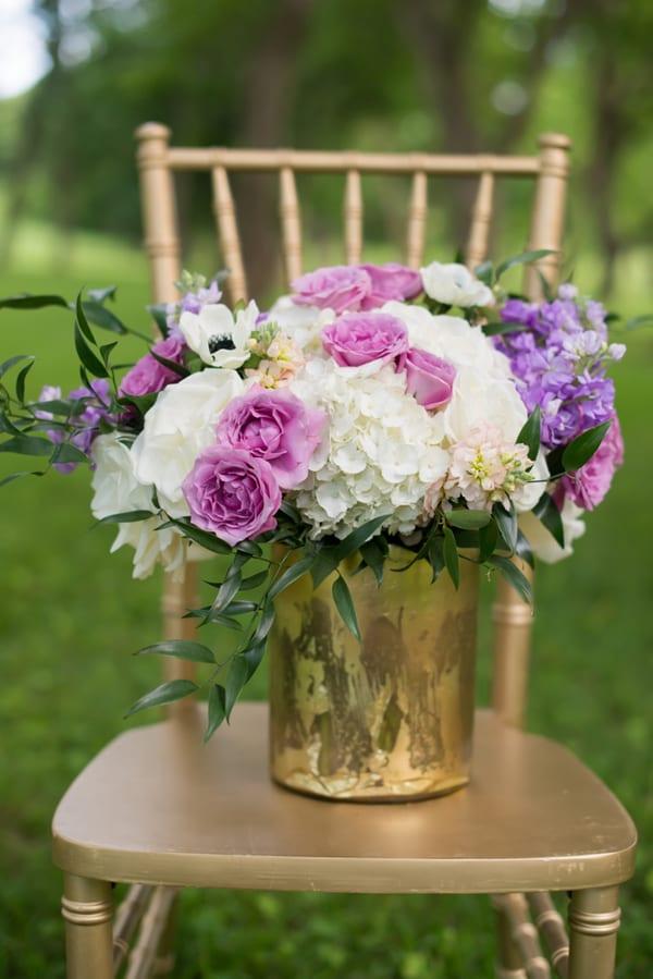purple flower center pieces gold