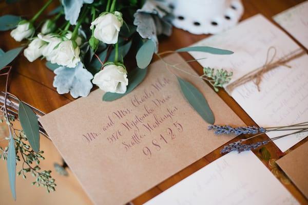 purple calligraphy invitations addresses