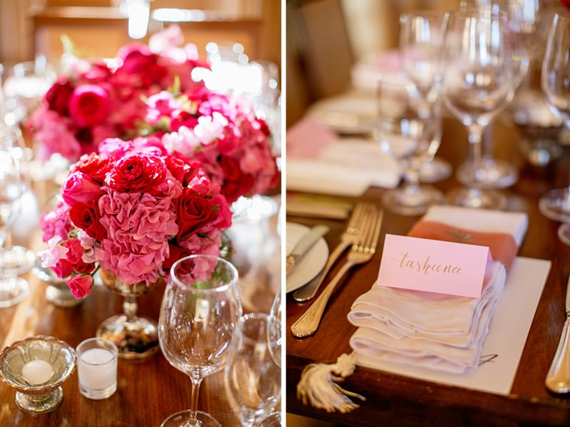 Pink and Red flower centerpieces