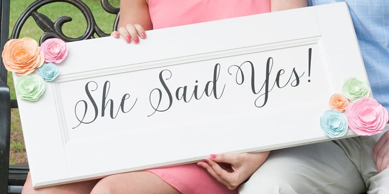 Sign for girl to hold after getting engaged