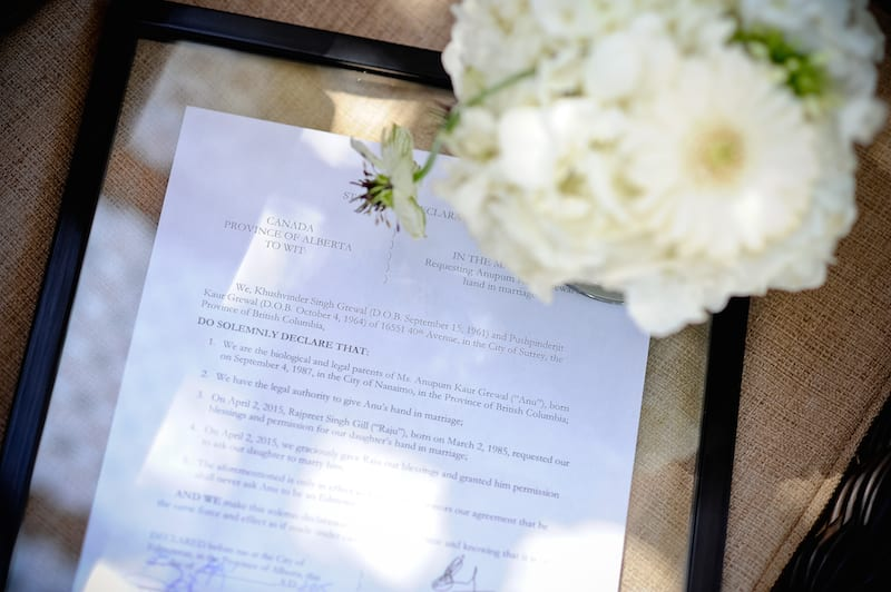 mock legal document asking dad permission to get married