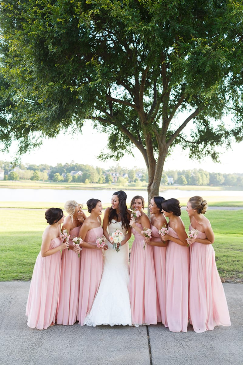 soft long pink bridesmaid dresses