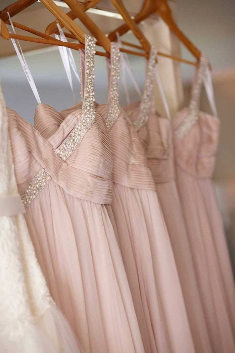 soft pink and sparkle bridesmaid dresses