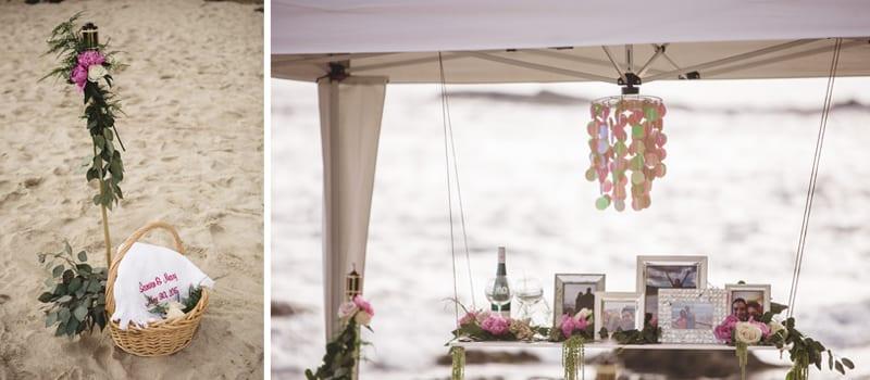 tiki torches tent beach proposal