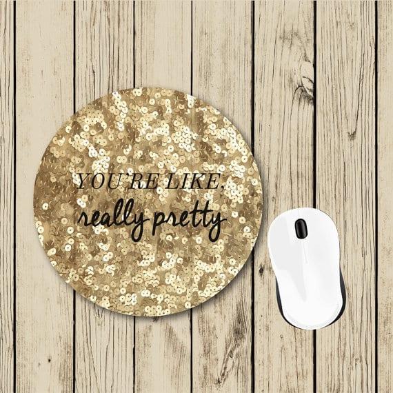 gift for her gold glitter mousepad