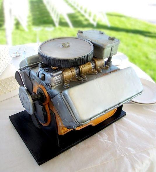 car motor grooms cake idea