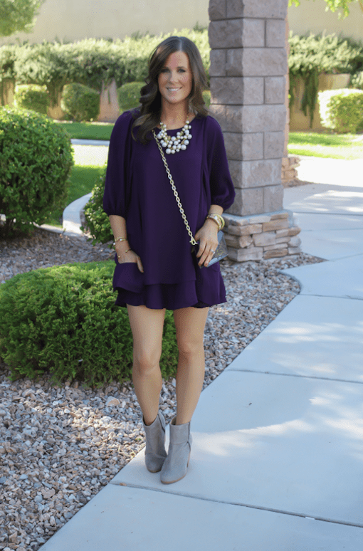 girl in purple dress for a wedding